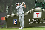 CROMWELL, CT. 21 June 2019-062119 - PGA Tour player Louis Oosthuizen tees of from the 18th tee, his ninth hole of the day, during the second round of the Travelers Championship at the TPC River Highlands in Cromwell on Thursday. Bill Shettle Republican-American