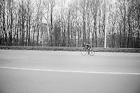 Alex Dowsett (GBR/Movistar) going for a solo breakaway <br /> <br /> Dwars Door Vlaanderen 2014