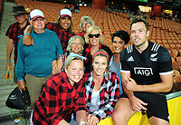 NZ's Tim Mikkelson with his family. Day one of the 2018 HSBC World Sevens Series Hamilton at FMG Stadium in Hamilton, New Zealand on Saturday, 3 February 2018. Photo: Dave Lintott / lintottphoto.co.nz