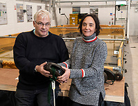 BNPS.co.uk (01202 558833)<br /> Pic: PhilYeomans/BNPS<br /> <br /> Professor David Parham from Bournemouth University and Jessica Berry from MAST with one of the recovered blocks.<br /> <br /> Fascinating artefacts salvaged from a historic gun ship which sunk off the British coast 261 years ago have gone on display for the first time.<br /> <br /> The French built ship is credited with transforming the Georgian Royal Navy after its capture in 1747 when trials revealed it was sleeker and better armed than British warships of the day.<br /> <br /> Unfortunately HMS Invincible  became wrecked on a shallow sand bank in the Solent in 1758 when en route to fhelp fight the French in Canada.<br /> <br /> The wreck, which is three nautical miles from Portsmouth, Hants, was first discovered by a fisherman in shallow 25ft waters 40 years ago. However, changing sea bed levels in the past few years have left it more exposed to the elements, leading to fears the relics could deteriorate.<br /> <br /> This prompted archaeologists to carry out a full scale excavation, with 1,458 dives taking place between 2017 and 2019 - during which nearly 2,000 artefacts were recovered.<br /> <br /> The array of new finds, including the ship's enormous cutwater - the forward curve of the ship's stem - have now been unveiled at the MAST Archaeological Centre in Poole, Dorset. They will eventually go on display at the National Museum of the Royal Navy in Portsmouth.<br /> <br /> Mr Pascoe said the HMS Invincible's innovative longer, streamlined design was copied by the British who adopted it on their ships up until the Battle of Trafalgar (1805).