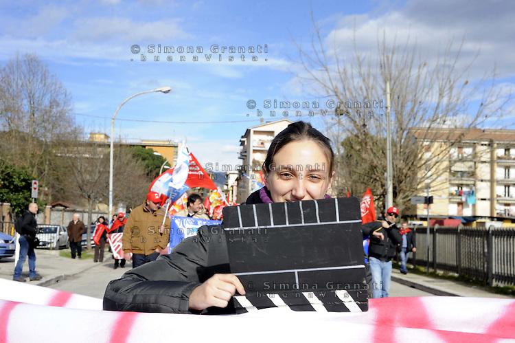 Cassino, 28 Gennaio 2011.Sciopero metalmeccanici e manifestazione in difesa del contratto nazionale e contro il modello Marchionne.Lavoratori e lavoratrici dello spettacolo