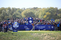 Ian Poulter (Team Europe) during the Saturday Fourballs at the Ryder Cup, Le Golf National, Paris, France. 29/09/2018.<br /> Picture Phil Inglis / Golffile.ie<br /> <br /> All photo usage must carry mandatory copyright credit (© Golffile | Phil Inglis)