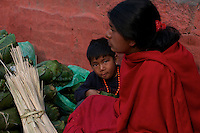 Women and Child at at Durbar Square and old Town Area in Kathmandu Nepal