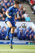 9th September 2017, King Power Stadium, Leicester, England; EPL Premier League Football, Leicester City versus Chelsea; Harry Maguire of Leicester City jumps and traps the ball with his right foot