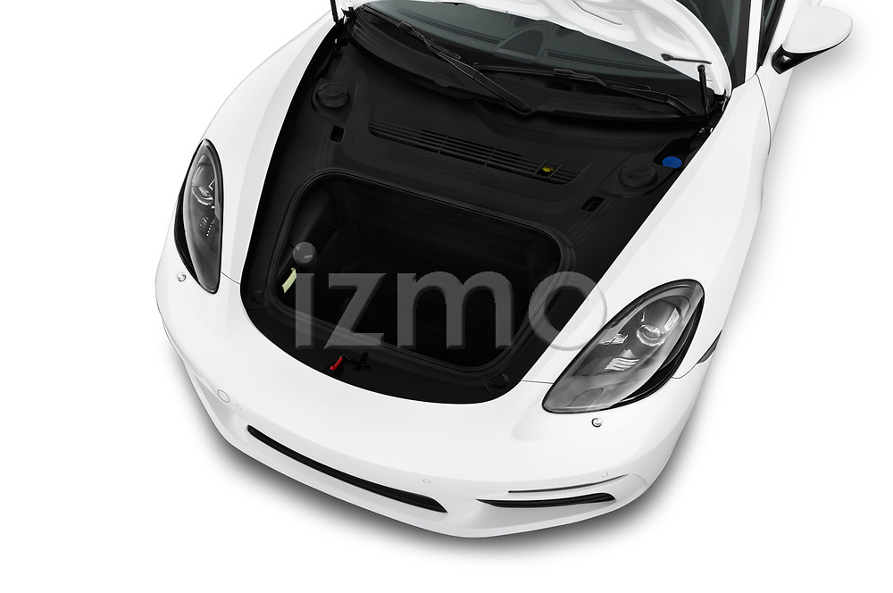 Car Stock 2019 Porsche 718-Boxster - 2 Door Convertible Engine  high angle detail view