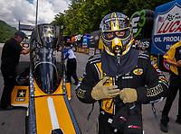 Jun 17, 2017; Bristol, TN, USA; NHRA top fuel driver Tony Schumacher during qualifying for the Thunder Valley Nationals at Bristol Dragway. Mandatory Credit: Mark J. Rebilas-USA TODAY Sports