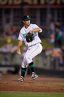Dayton Dragons relief pitcher Brian Hunter (28) delivers a pitch during a game against the Cedar Rapids Kernels on May 10, 2017 at Fifth Third Field in Dayton, Ohio.  Cedar Rapids defeated Dayton 6-5 in ten innings.  (Mike Janes/Four Seam Images)