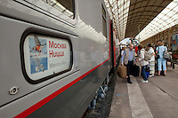 The train from Moscow to Nice arrives at the central train station, Nice, France, 28 April 2012