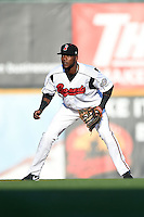Nashville Sounds shortstop Hector Gomez (14) during the first game of a double header against the Omaha Storm Chasers on May 21, 2014 at Herschel Greer Stadium in Nashville, Tennessee.  Nashville defeated Omaha 5-4.  (Mike Janes/Four Seam Images)