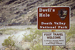 Sign near the world's smallest environment at Devil's Hole Pupfish ecosystem, Death Valley National Park, Nev.