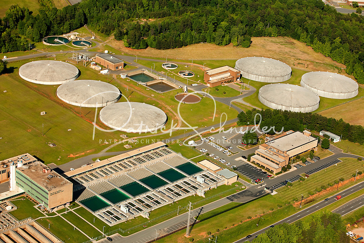 Aerial photography over Charlotte, NC, and the surrounding areas from May 2009. Photos by Charlotte photographer Patrick Schneider Photography. Photo of Franklin Water Treatment Plant.