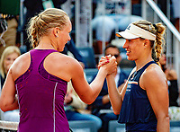 Paris, France, 02 June, 2018, Tennis, French Open, Roland Garros, Kiki Bertens (NED) congratulates Angelique Kerber (GER) (R)<br /> Photo: Henk Koster/tennisimages.com