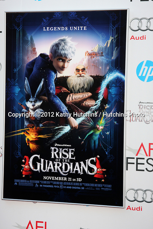 """LOS ANGELES - NOV 4:  Rise of the Guardians Poster at the AFI Film Festival 2012  """"Rise of the Guardians"""" Screening at Los Angeles on November 4, 2012 in Graumans Chinese Theater, CA"""