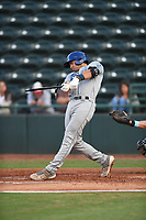 Asheville Tourists catcher Johnny Cresto (17) connects on a pitch and shatters his bat during a game with the Hickory Crawdads at L.P. Frans Stadium on May 8, 2019 in Hickory, North Carolina. The Tourists defeated the Crawdads 7-6. (Tracy Proffitt/Four Seam Images)