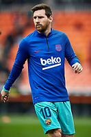 25th January 2020; Mestalla, Valencia, Spain; La Liga Football,Valencia versus Barcelona; Lionel Messi of FCB warms up prior to the game