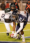November 12, 2011: Nevada Wolf Pack Duke Williams picks up a Hawaii fumble in the end zone to end a Hawaii threat during a WAC league game played at Mackay Stadium in Reno, Nevada.
