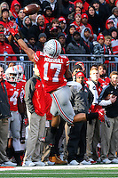 Ohio State Buckeyes running back Jalin Marshall (17) misses a pass in the third quarter of their game at Ohio Stadium in Columbus, Ohio on November 22, 2014. (Columbus Dispatch photo by Brooke LaValley)