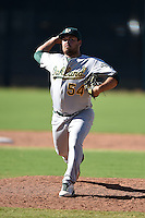 Oakland Athletics pitcher Koby Gauna (54) during an Instructional League game against the San Francisco Giants on October 13, 2014 at Giants Baseball Complex in Scottsdale, Arizona.  (Mike Janes/Four Seam Images)