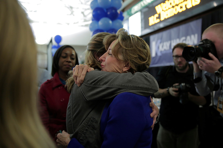 GREENSBORO, NC - NOVEMBER 4:   Sen. Kay Hagan (D-N.C.) gets a hug from a supporter after Hagan conceded the Senate race in North Carolina to Republican Thom Tillis    in Greensboro, NC, on Tuesday, November 4, 2014.  (Photo by Ted Richardson/For The Washington Post)