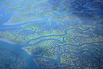 Detail aerial over tidal flats of Humboldt Bay, near Ferndale, Humboldt County, CALIFORNIA