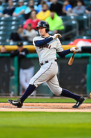 Patrick Kivlehan (27) of the Tacoma Rainiers at bat against the Salt Lake Bees in Pacific Coast League action at Smith's Ballpark on June 13, 2016 in Salt Lake City, Utah. The Rainiers defeated the Bees 3-1.  (Stephen Smith/Four Seam Images)