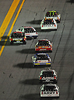 Jul. 4, 2008; Daytona Beach, FL, USA; Nascar Nationwide Series driver Carl Edwards (60) gets turned sideways by Mike Bliss (1) during the Winn-Dixie 250 at Daytona International Speedway. Mandatory Credit: Mark J. Rebilas-