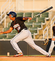 Jonathan Schoop #46 of the Delmarva Shorebirds follows through on his swing against the Kannapolis Intimidators at Fieldcrest Cannon Stadium on May 20, 2011 in Kannapolis, North Carolina.   Photo by Brian Westerholt / Four Seam Images
