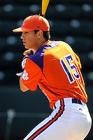 Infielder Glenn Batson (15) of the Clemson Tigers prior to the Reedy River Rivalry game against the South Carolina Gamecocks on March 1, 2014, at Fluor Field at the West End in Greenville, South Carolina. South Carolina won, 10-2.  (Tom Priddy/Four Seam Images)