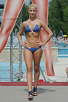 Monika Egyed attends the Miss Bikini Hungary beauty contest held in Budapest, Hungary on August 06, 2011. ATTILA VOLGYI