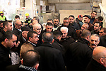Palestinian Prime Minister Rami Hamdallah visits a stone factory in the West Bank village of Bani Naem, February 16 2019. Hamdallah's tour included visits to stone quarries and factories in the West Bank villages of Bani Naem and Saer near Hebron as well as to Biet Fajjar near Bethlehem. Photo by Wisam Hashlamoun