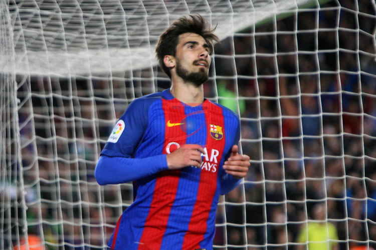 League Santander 2016/2017. Game: 28.<br /> FC Barcelona vs Valencia CF: 4-2.<br /> Andre Gomes.