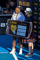 12th January 2020, Auckland, New Zealand;  Serena Williams (USA) is presented with the winners cheque (which she donated to the Australian Bushfires) at the 2020 Women's ASB Classic at the ASB Tennis Centre, Auckland, New Zealand.
