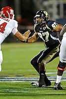 11 September 2010:  FIU defensive end Tourek Williams (97) make his way into the backfield in the first quarter as the Rutgers Scarlet Knights defeated the FIU Golden Panthers, 19-14, at FIU Stadium in Miami, Florida.