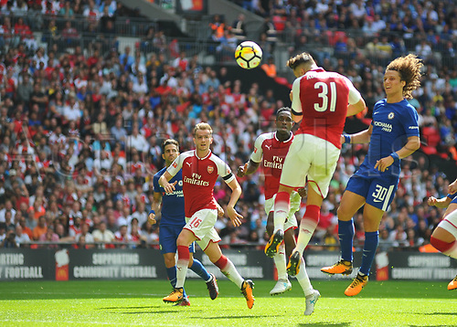 August 6th 2017, Wembley Stadium, London, England; FA Community Shield Final, Arsenal versus Chelsea; Sead Kolasinac of Arsenal heads in Arsenal's first goal to equalise the game at 1-1 in the 81st minute