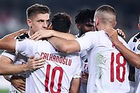 Krzysztof Piatek of AC Milan celebrates with team mates after scoring the victory goal <br /> Verona 15/09/2019 Stadio Bentegodi <br /> Football Serie A 2019/2020 <br /> Hellas Verona - AC Milan <br /> Photo Image Sport / Insidefoto