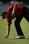 6 September 2008:    Steve Stricker places his ball to putt on the first hole in the second round of play at the BMW Golf Championship at Bellerive Country Club in Town & Country, Missouri, a suburb of St. Louis, Missouri.  The BMW Championship is the third event on the PGA's Fed Ex Tour.
