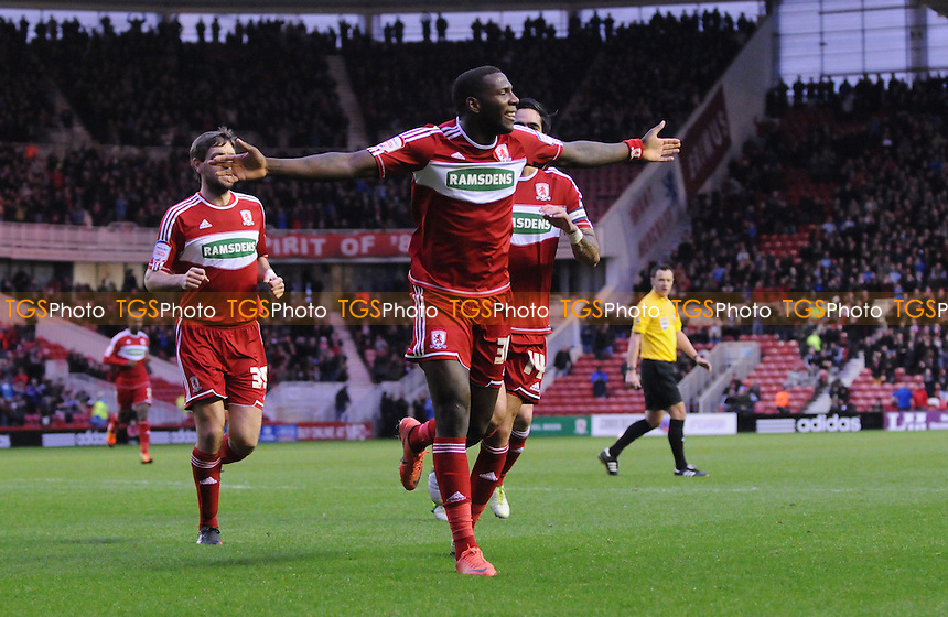 Middlesbrough striker Ishmael Miller celebrates scoring the opening goal  - Middlesborough vs Blackpool - NPower Championship Football at the Riverside Stadium - 29/12/12 - MANDATORY CREDIT: Steven White/TGSPHOTO - Self billing applies where appropriate - 0845 094 6026 - contact@tgsphoto.co.uk - NO UNPAID USE.