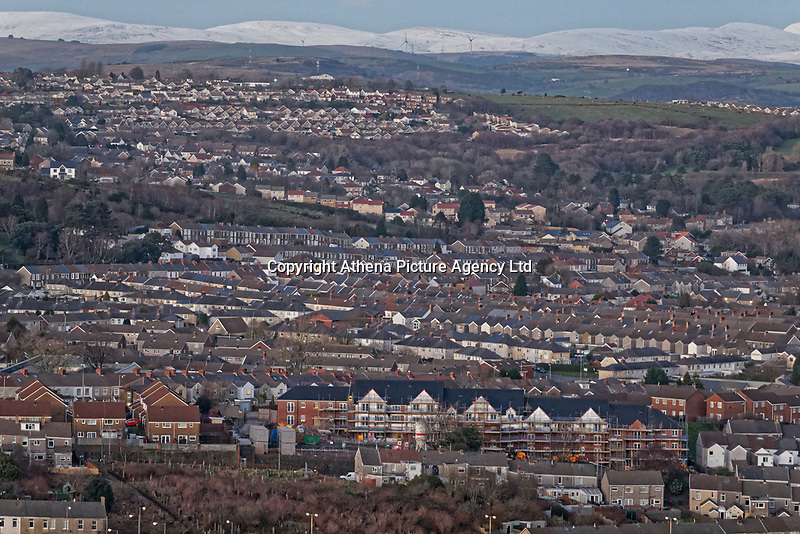 General view of the Cwmdu, Penlan and Gendros areas of Swansea, Wales, UK. Wednesday 30 January 2019