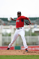 GCL Red Sox pitcher Jalen Williams (29) delivers a pitch during a game against the GCL Rays on August 3, 2015 at the JetBlue Park at Fenway South in Fort Myers, Florida.  The game was suspended after two innings due to the inclement weather.  (Mike Janes/Four Seam Images)