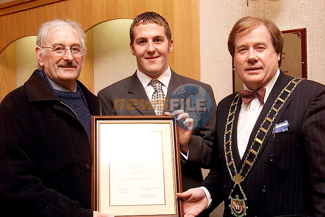 Louth manager Paddy Clarke and Mayor Frank Godfrey with Olympic swimmer Colin Lowth at the civic reception which was held in his honour in the corporation chambers..Picture: Paul Mohan/Newsfile