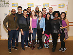 "Chesney Snow, Justin Guarini, Telly Leung, Steven ""Heaven"" Cantor, Erin Mackey, Nicholas Ward, Margo Seibert, James Snyder, Mariand Torres, David Abeles, Moya Angela and Gerianne Perez attend the photo Call for 'InTransit' at The New 42nd Street Studios on October 27, 2016 in New York City."