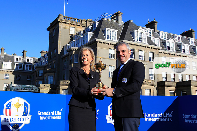 European Ryder Cup Captain Paul McGinley with Nuala Walsh, Head of Global Client Relations Standard Life Investments, at his first media day at Gleneagles Golf Club venue of the 2014 Ryder Cup, 27th February 2013..Photo Eoin Clarke/www.golffile.ie