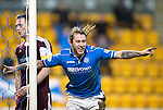 St Johnstone v Hearts.....18.01.14   SPFL<br /> Stevie May celebrates his second goal<br /> Picture by Graeme Hart.<br /> Copyright Perthshire Picture Agency<br /> Tel: 01738 623350  Mobile: 07990 594431