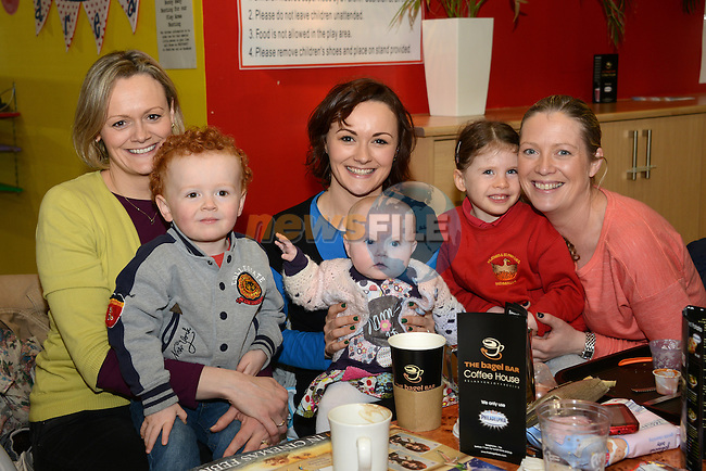 At the Mumstown parent toddlers coffee morning in the Laurence Town Centre (from left): Aine Loughran with son Ryan (2), Mary Deery with 6 month old Maggie, And Cora Keelan with daughter Amy (5). www.newsfile.ie