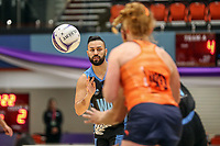 NZ Men's Cameron Powell throws a pass during the Cadbury Netball Series match between NZ Men and All Stars at the Bruce Pullman Arena in Papakura, New Zealand on Friday, 28 June 2019. Photo: Dave Lintott / lintottphoto.co.nz