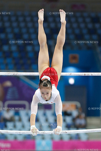 Sakura Yumoto (JPN), <br /> SEPTEMBER 22, 2014 - Artistic Gymnastics : <br /> Women's Team Final <br /> Uneven Bars <br /> at Namdong Gymnasium <br /> during the 2014 Incheon Asian Games in Incheon, South Korea. <br /> (Photo by AFLO SPORT) [1180]