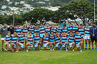 The Atletico under-17s pose for a group photo after the rugby match between Rongotai College XV and Club Atletico del Rosario Under-17 at Evan's Bay Park in Wellington, New Zealand on Wednesday, 28 February 2018. Photo: Dave Lintott / lintottphoto.co.nz