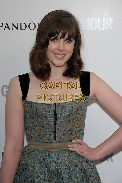 Alexandra Roach.Women Of The Year 2012 - Glamour Awards, Berkeley Square, London, England..29th May 2012.half length green print dress blue  hand on hip.CAP/PL.©Phil Loftus/Capital Pictures.
