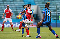 Fleetwood Town's Ross Wallace competing with Gillingham's Gabriel Zakuani<br /> <br /> Photographer Andrew Kearns/CameraSport<br /> <br /> The EFL Sky Bet League One - Gillingham v Fleetwood Town - Saturday 3rd November 2018 - Priestfield Stadium - Gillingham<br /> <br /> World Copyright &copy; 2018 CameraSport. All rights reserved. 43 Linden Ave. Countesthorpe. Leicester. England. LE8 5PG - Tel: +44 (0) 116 277 4147 - admin@camerasport.com - www.camerasport.com