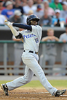 Pensacola Blue Wahoos shortstop Didi Gregorius #18 swings at a pitch during the Southern League All-Star Game  at Smokies Park on June 19, 2012 in Kodak, Tennessee.  The South Division defeated the North Division 6-2. (Tony Farlow/Four Seam Images).